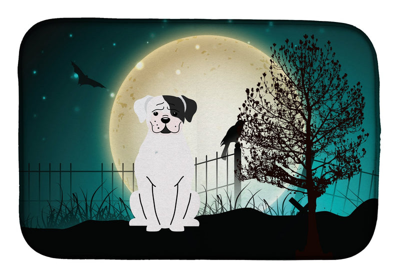 Buy this Halloween Scary White Boxer Cooper Dish Drying Mat BB2304DDM