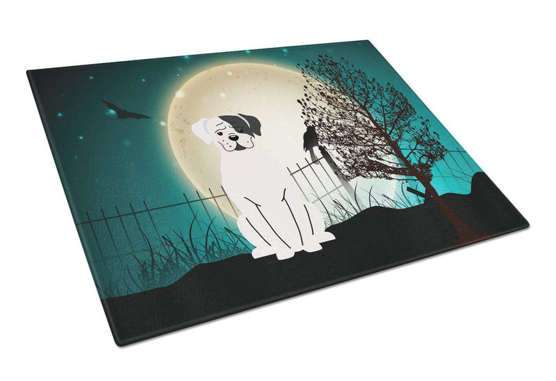 Buy this Halloween Scary White Boxer Cooper Glass Cutting Board Large BB2304LCB