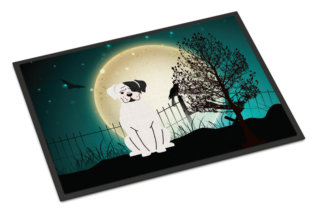 Buy this Halloween Scary White Boxer Cooper Indoor or Outdoor Mat 18x27 BB2304MAT