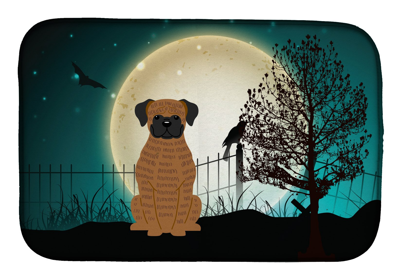 Buy this Halloween Scary Brindle Boxer Dish Drying Mat BB2307DDM