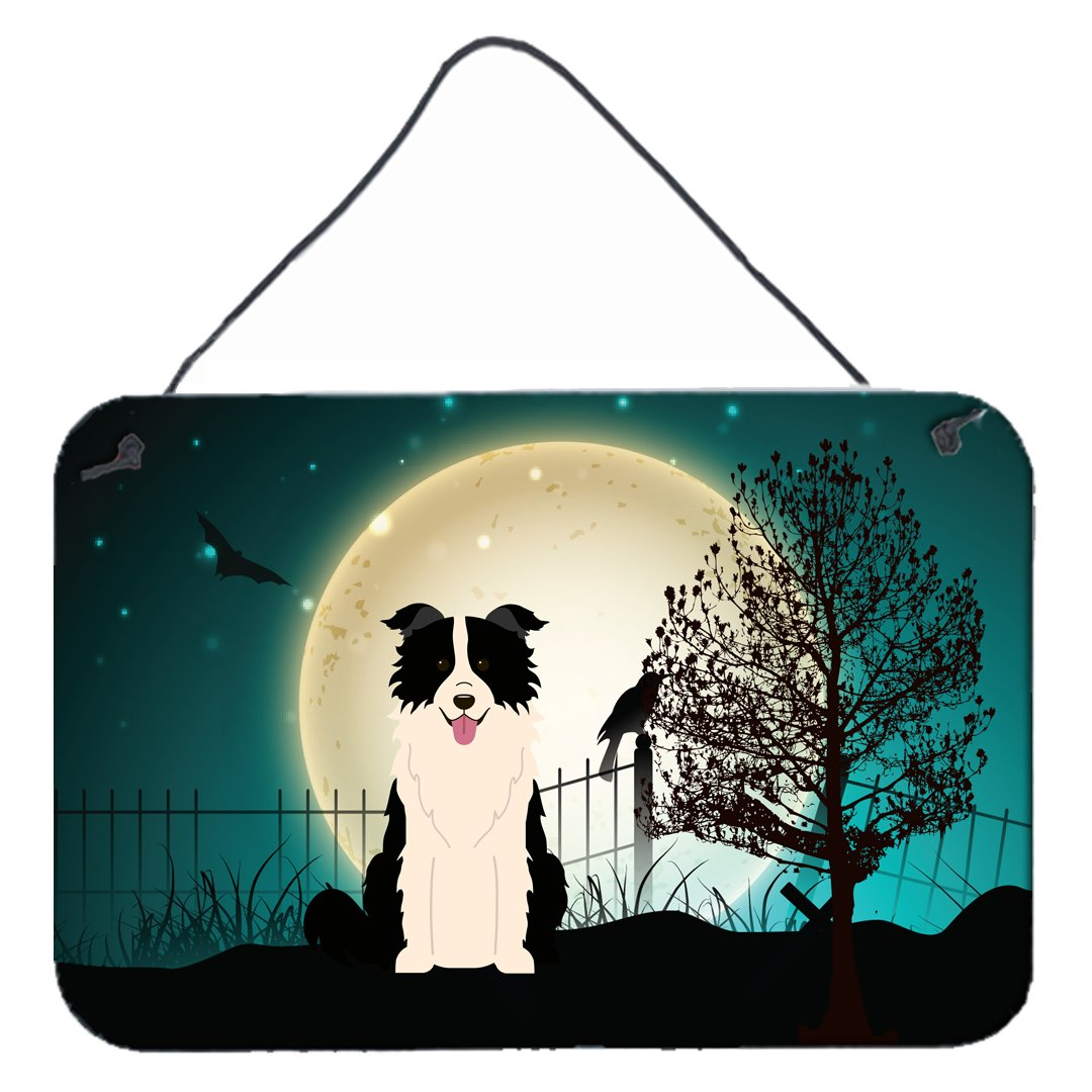 Buy this Halloween Scary Border Collie Black White Wall or Door Hanging Prints BB2308DS812