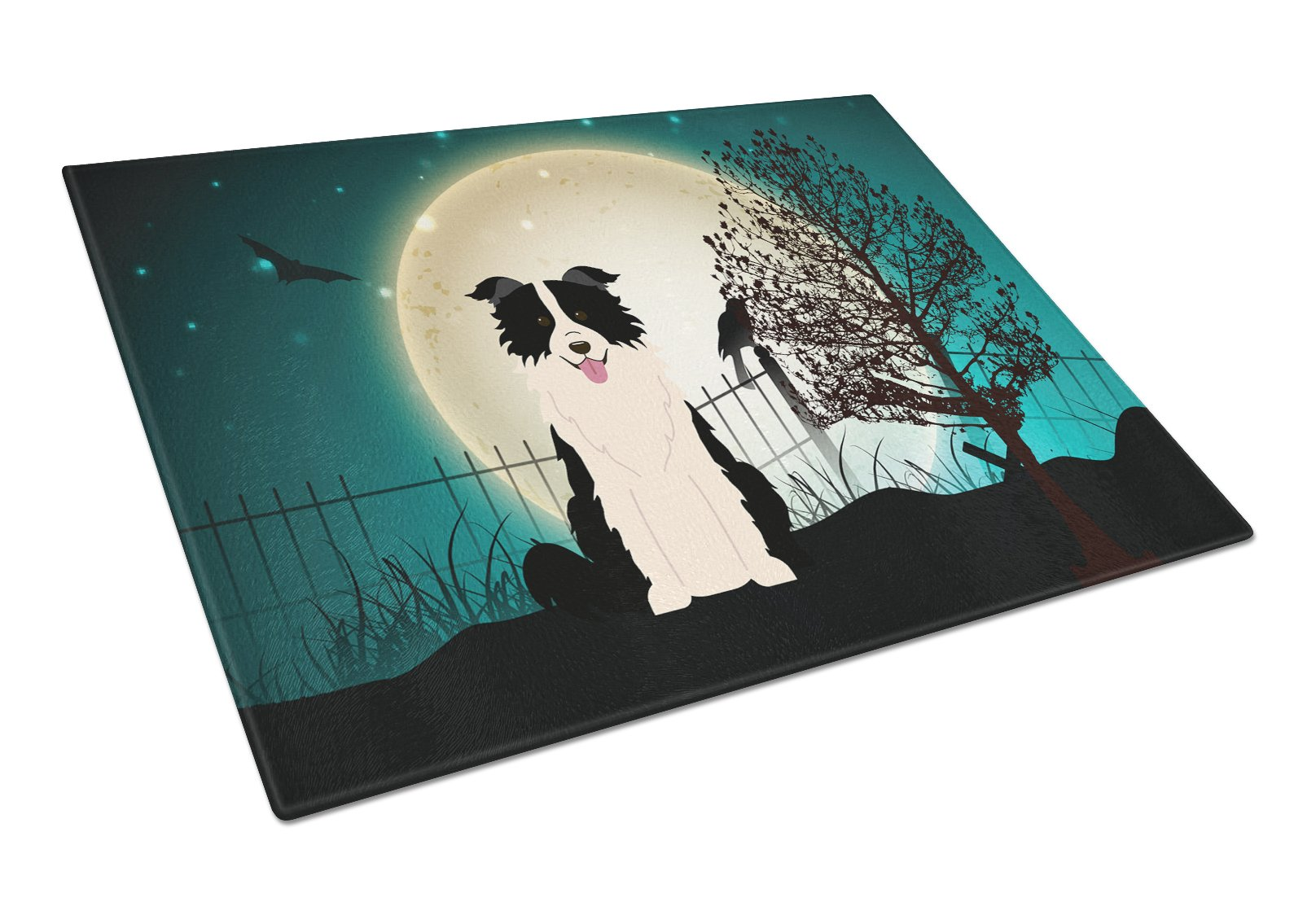 Halloween Scary Border Collie Black White Glass Cutting Board Large BB2308LCB by Caroline's Treasures