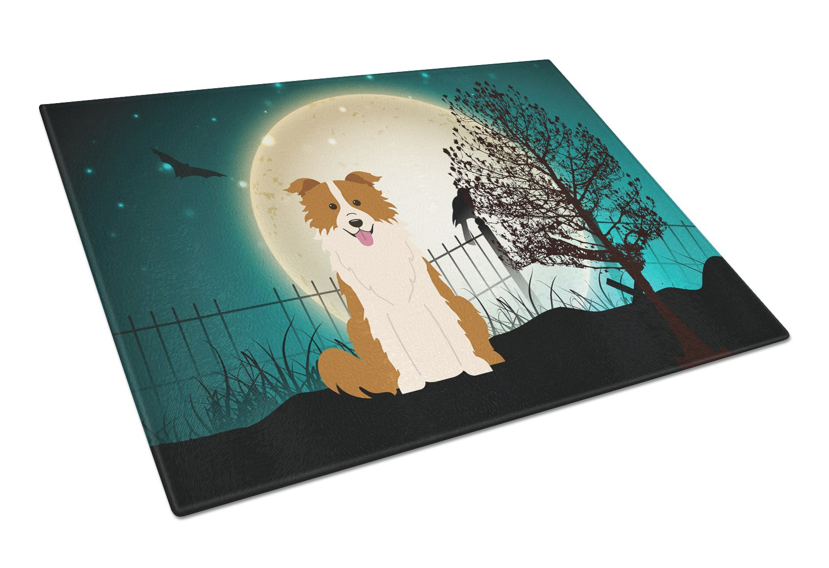 Halloween Scary Border Collie Red White Glass Cutting Board Large BB2309LCB by Caroline's Treasures