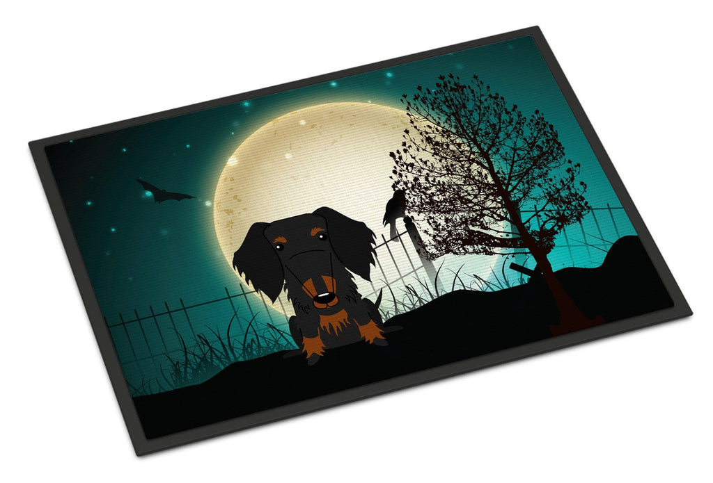 Buy this Halloween Scary Wire Haired Dachshund Black Tan Indoor or Outdoor Mat 18x27 BB2317MAT