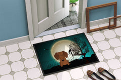 Halloween Scary Dachshund Red Brown Indoor or Outdoor Mat 24x36 BB2320JMAT
