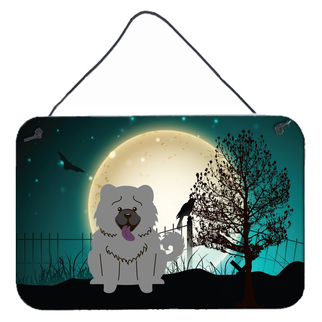 Buy this Halloween Scary Chow Chow Blue Wall or Door Hanging Prints BB2329DS812