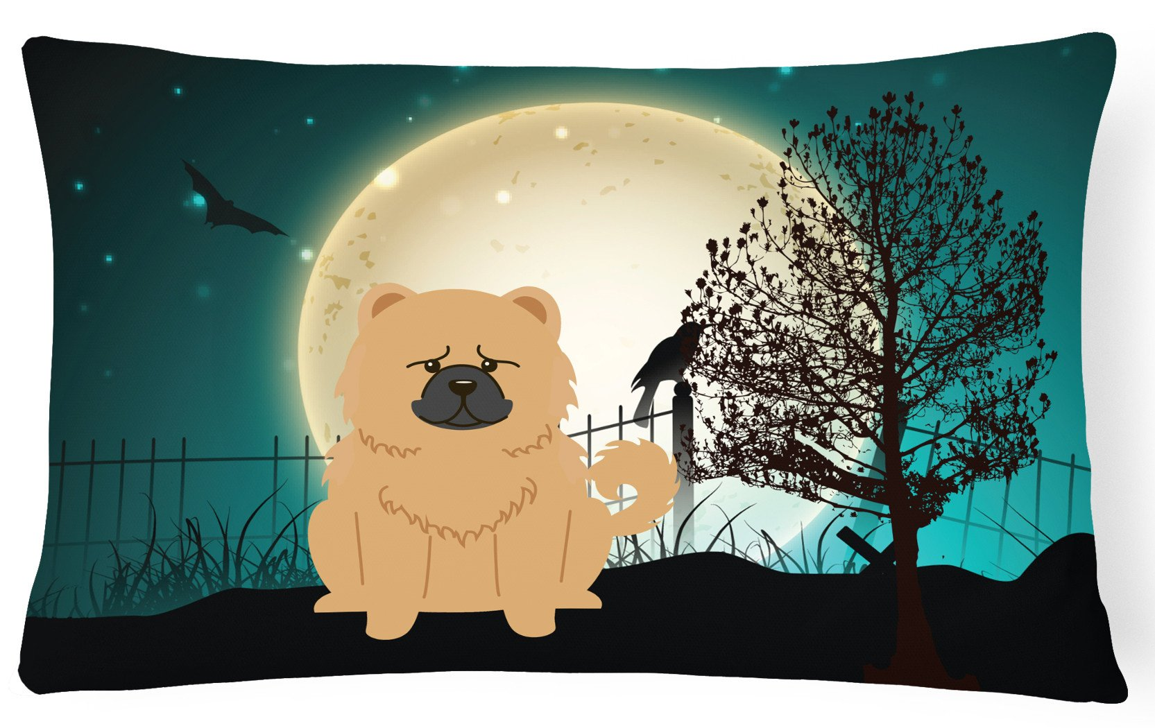 Halloween Scary Chow Chow Cream Canvas Fabric Decorative Pillow BB2334PW1216 by Caroline's Treasures