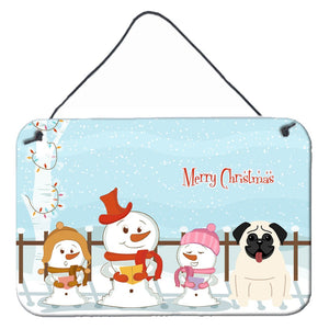 Buy this Merry Christmas Carolers Pug Cream Wall or Door Hanging Prints BB2335DS812
