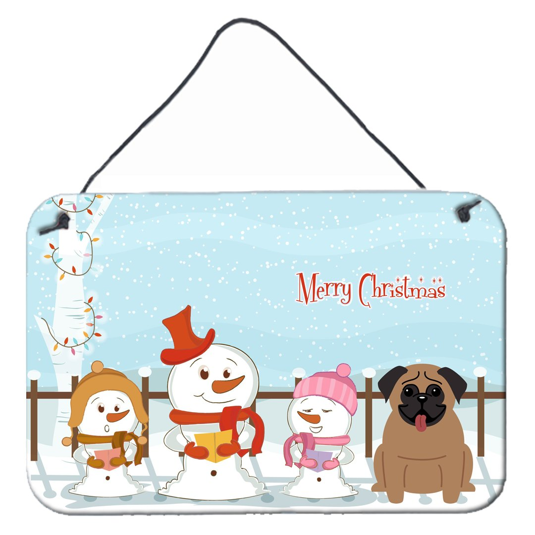 Buy this Merry Christmas Carolers Pug Brown Wall or Door Hanging Prints BB2336DS812