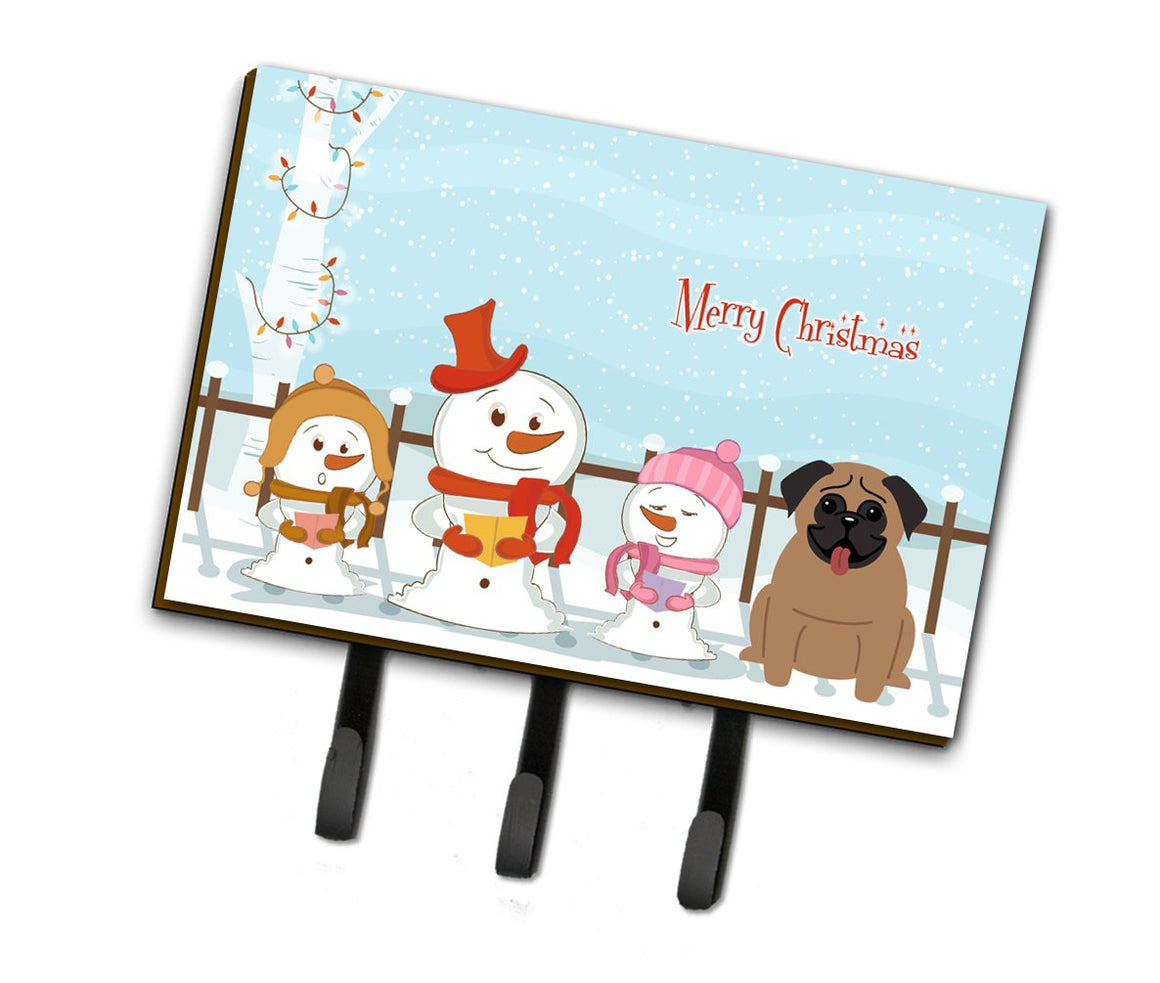 Buy this Merry Christmas Carolers Pug Brown Leash or Key Holder BB2336TH68