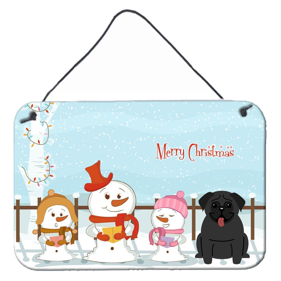 Buy this Merry Christmas Carolers Pug Black Wall or Door Hanging Prints BB2337DS812