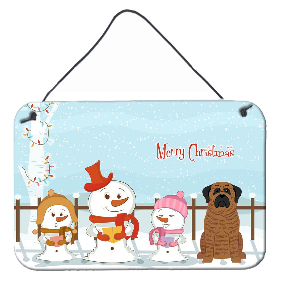 Buy this Merry Christmas Carolers Mastiff Brindle Wall or Door Hanging Prints BB2346DS812