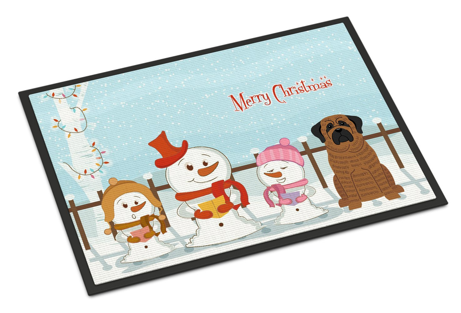 Merry Christmas Carolers Mastiff Brindle Indoor or Outdoor Mat 18x27 BB2346MAT by Caroline's Treasures