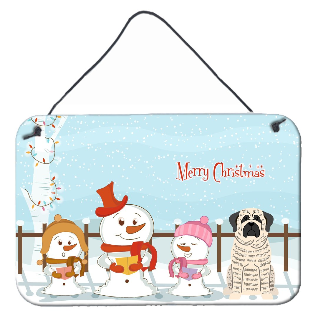 Buy this Merry Christmas Carolers Mastiff Brindle White Wall or Door Hanging Prints BB2347DS812