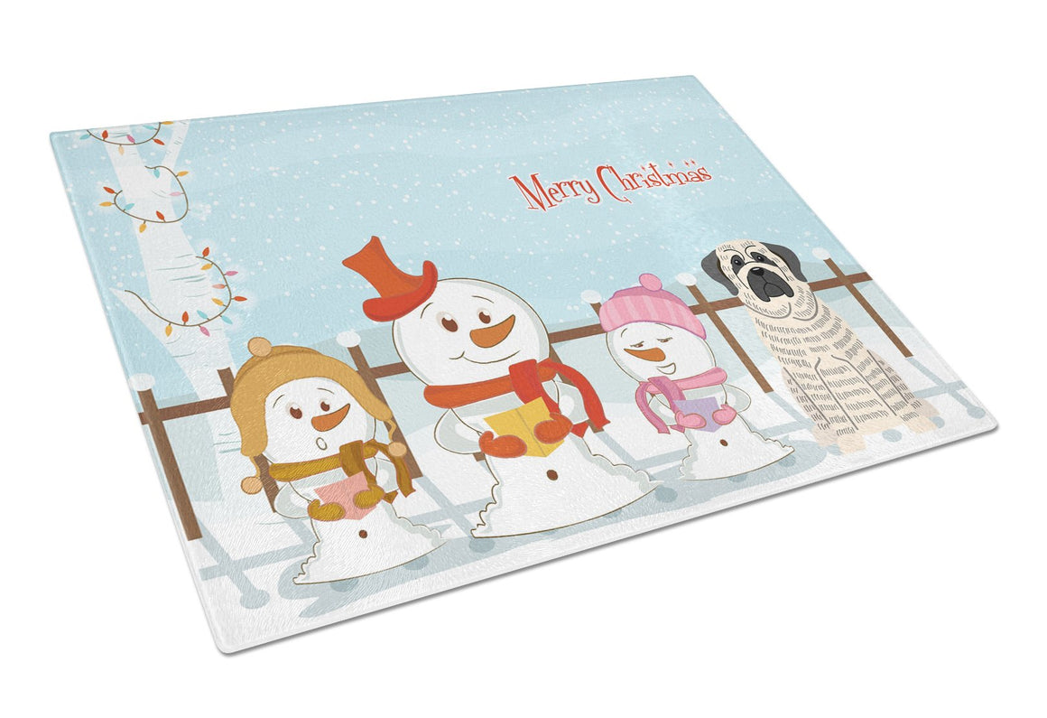 Buy this Merry Christmas Carolers Mastiff Brindle White Glass Cutting Board Large BB2347LCB