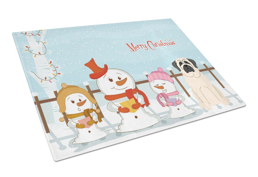 Buy this Merry Christmas Carolers Mastiff White Glass Cutting Board Large BB2348LCB