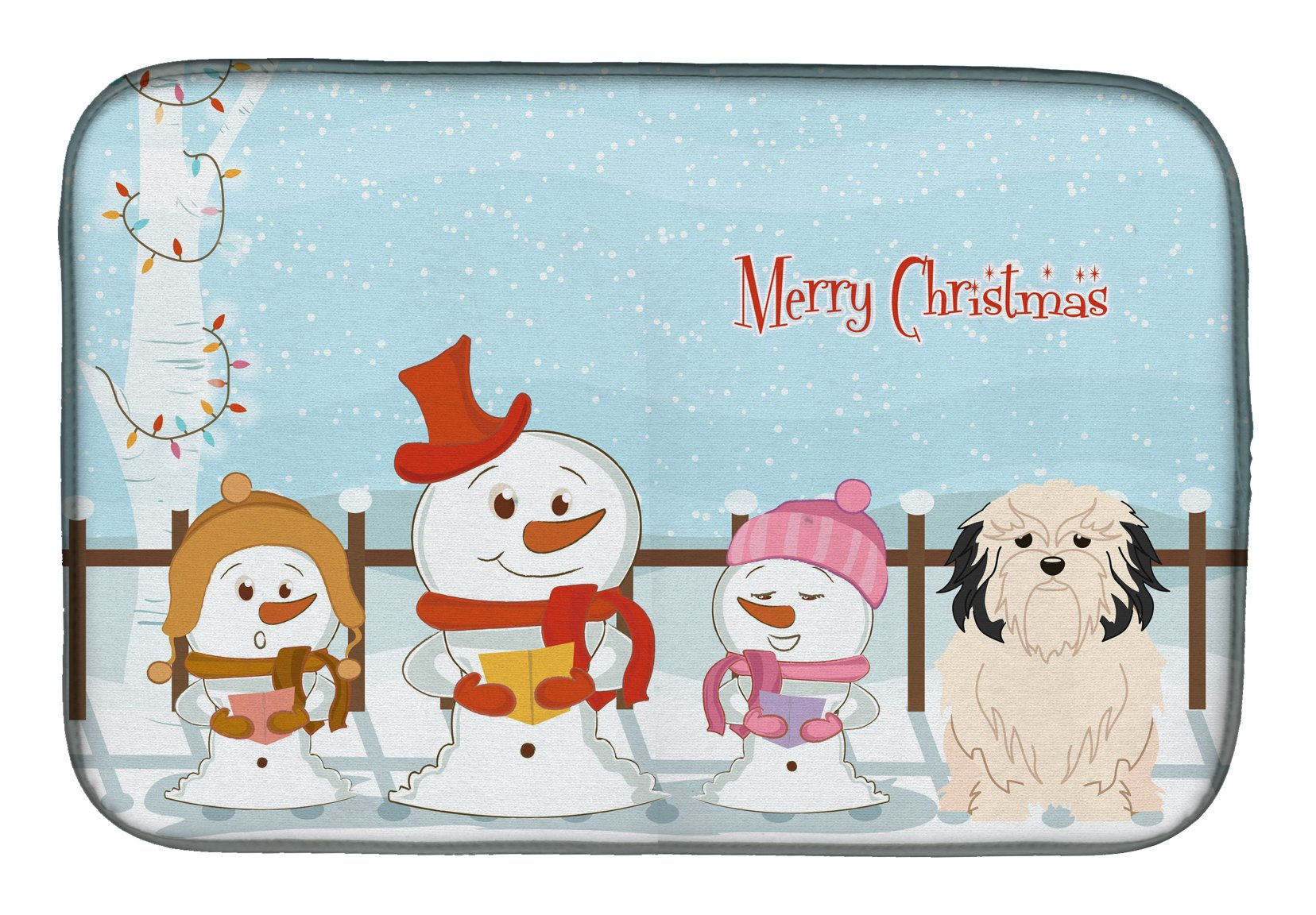 Merry Christmas Carolers Lowchen Dish Drying Mat Bb2350ddm The Store Com