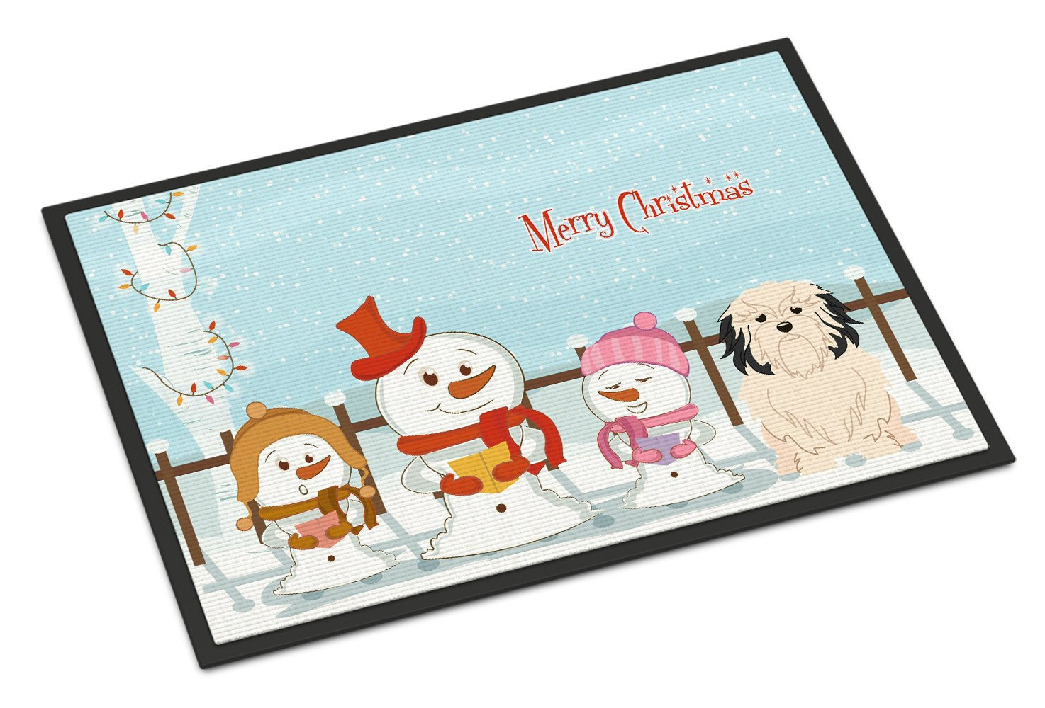 Merry Christmas Carolers Lowchen Indoor or Outdoor Mat 24x36 BB2350JMAT - the-store.com