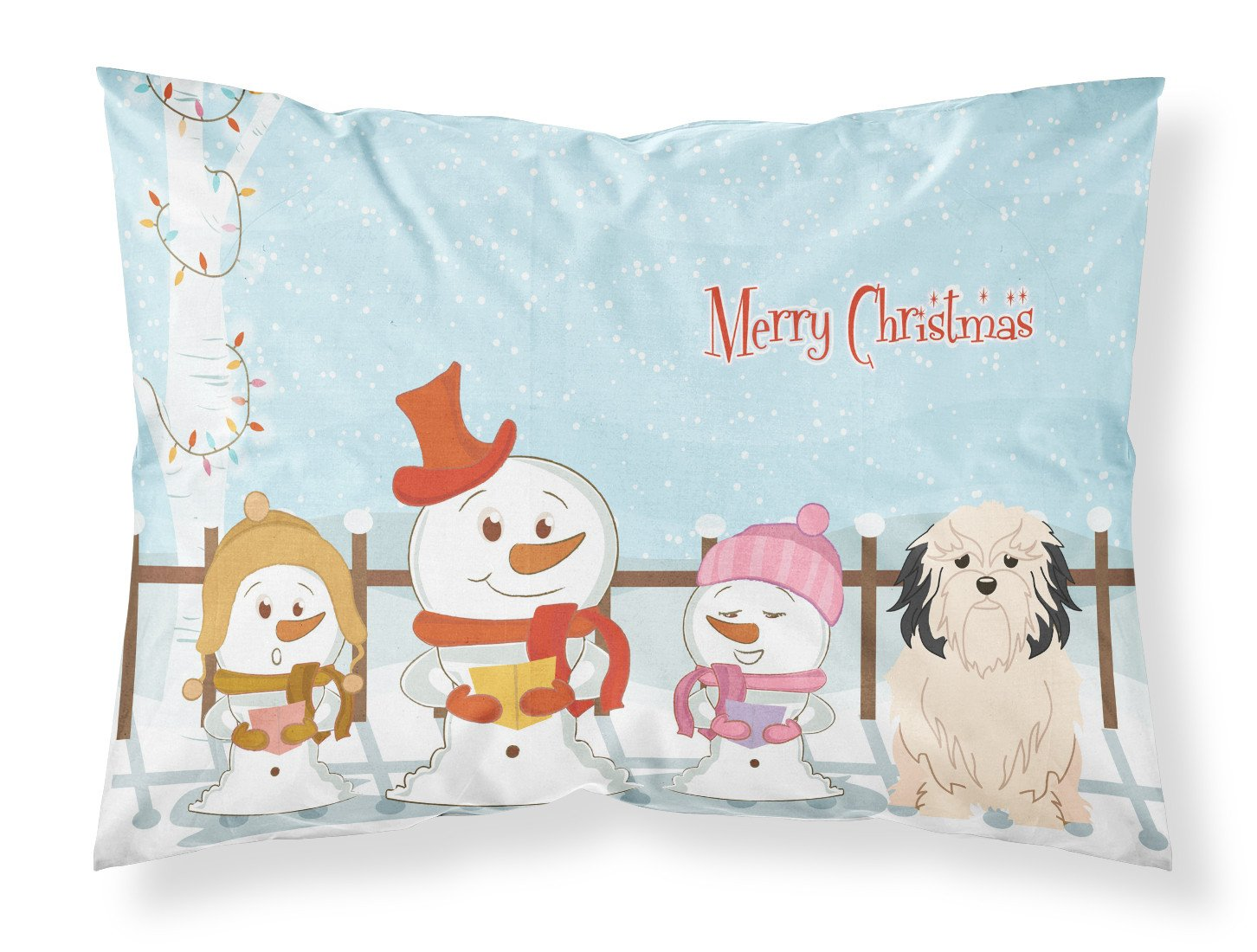 Merry Christmas Carolers Lowchen Fabric Standard Pillowcase BB2350PILLOWCASE by Caroline's Treasures
