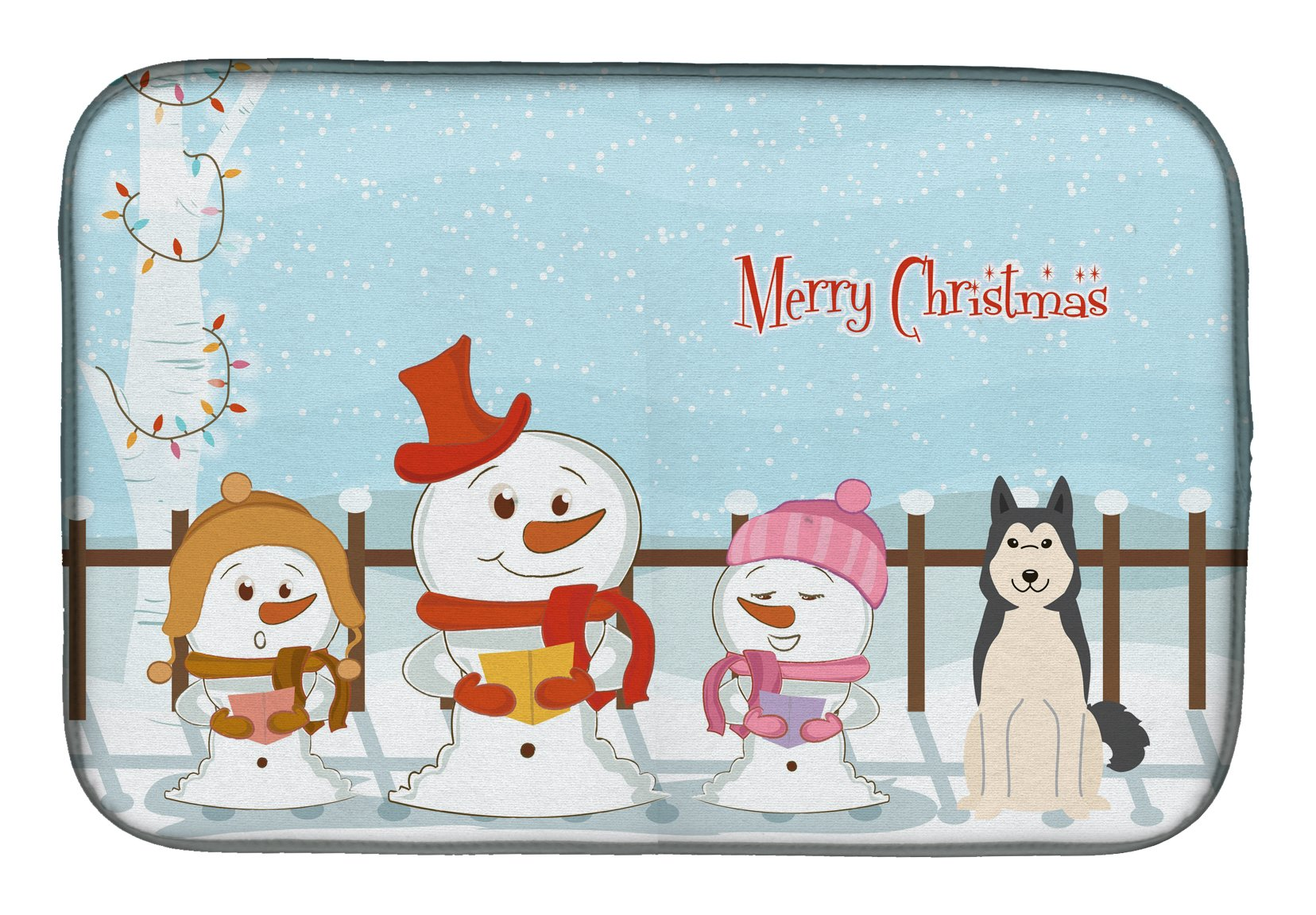 Merry Christmas Carolers West Siberian Laika Spitz Dish Drying Mat BB2356DDM by Caroline's Treasures