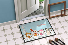 Merry Christmas Carolers West Siberian Laika Spitz Indoor or Outdoor Mat 24x36 BB2356JMAT