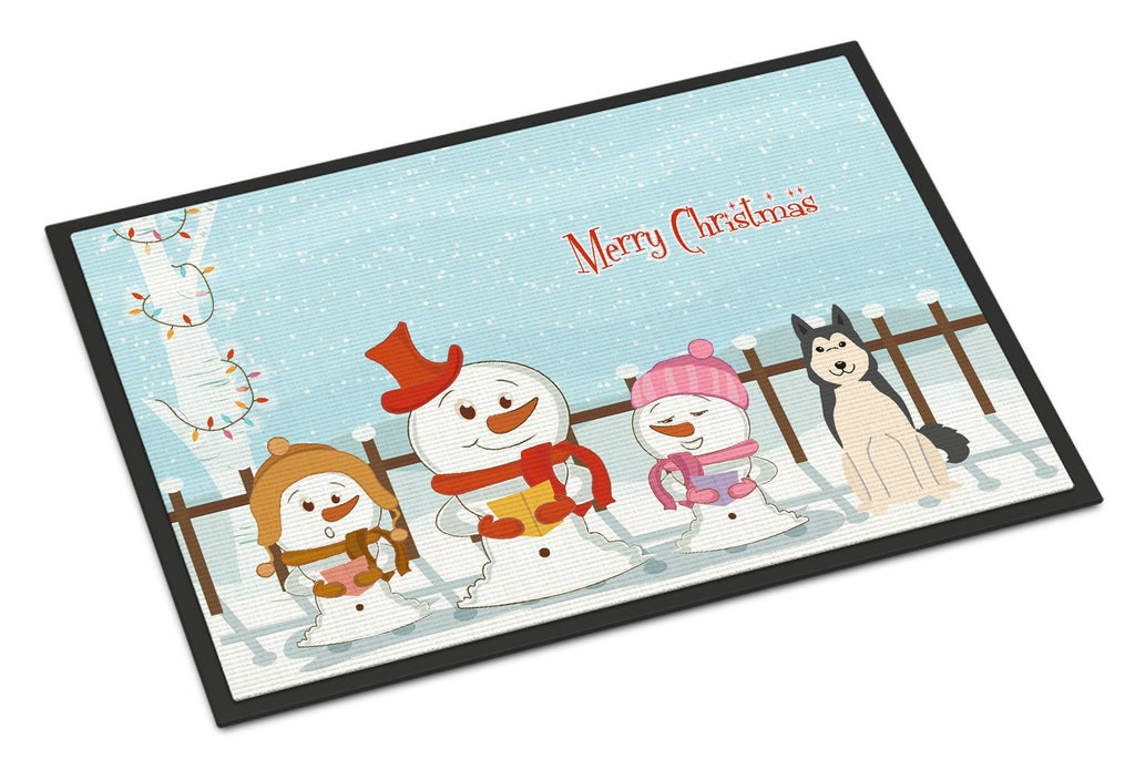 Buy this Merry Christmas Carolers West Siberian Laika Spitz Indoor or Outdoor Mat 24x36 BB2356JMAT