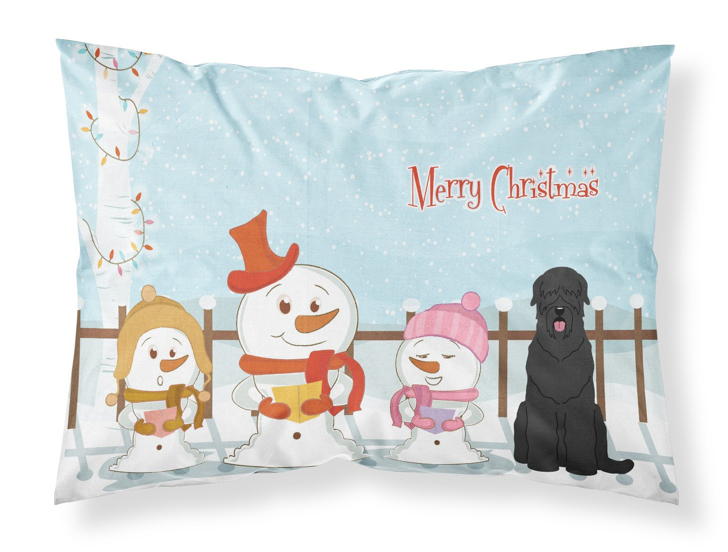 Merry Christmas Carolers Black Russian Terrier Fabric Standard Pillowcase BB2357PILLOWCASE by Caroline's Treasures