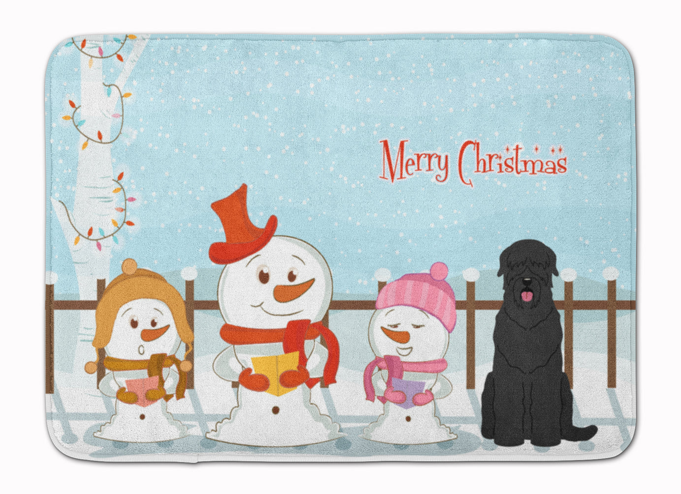 Merry Christmas Carolers Black Russian Terrier Machine Washable Memory Foam Mat BB2357RUG by Caroline's Treasures
