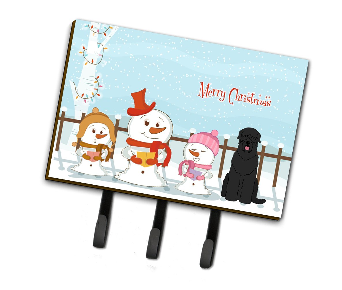 Buy this Merry Christmas Carolers Black Russian Terrier Leash or Key Holder BB2357TH68