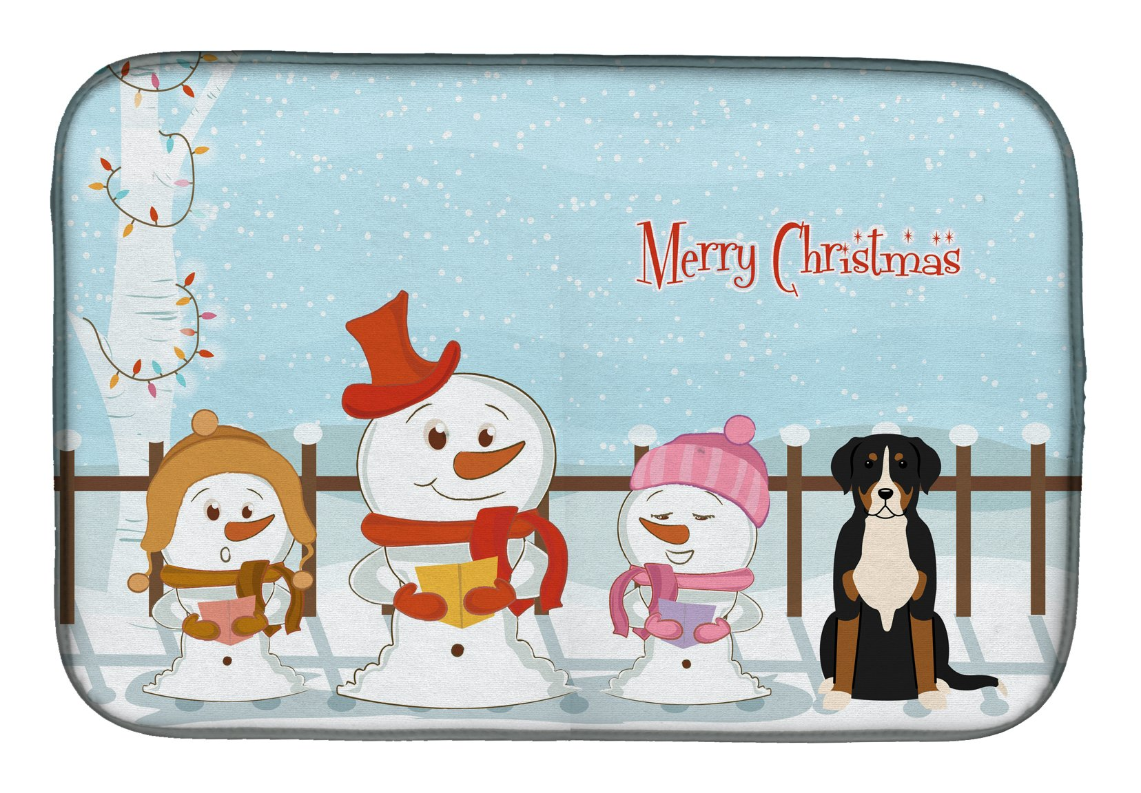 Merry Christmas Carolers Greater Swiss Mountain Dog Dish Drying Mat BB2368DDM by Caroline's Treasures