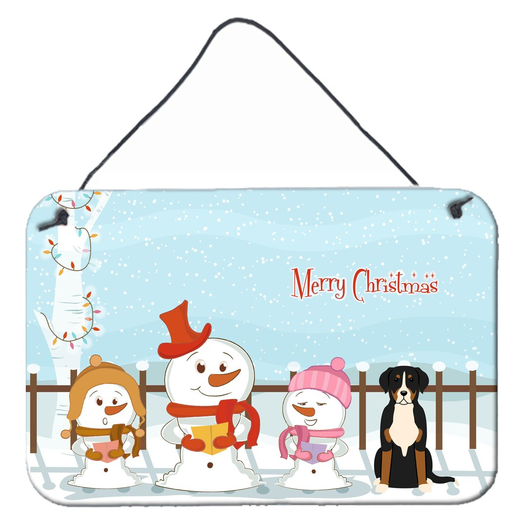 Merry Christmas Carolers Greater Swiss Mountain Dog Wall or Door Hanging Prints BB2368DS812 by Caroline's Treasures