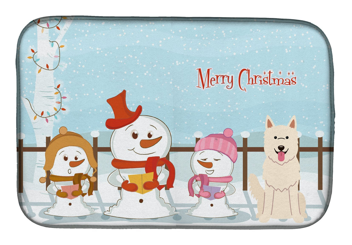 Buy this Merry Christmas Carolers White German Shepherd Dish Drying Mat BB2376DDM