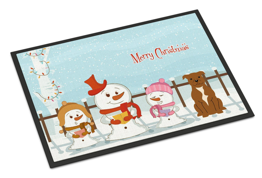Buy this Merry Christmas Carolers Staffordshire Bull Terrier Brown Indoor or Outdoor Mat 24x36 BB2378JMAT