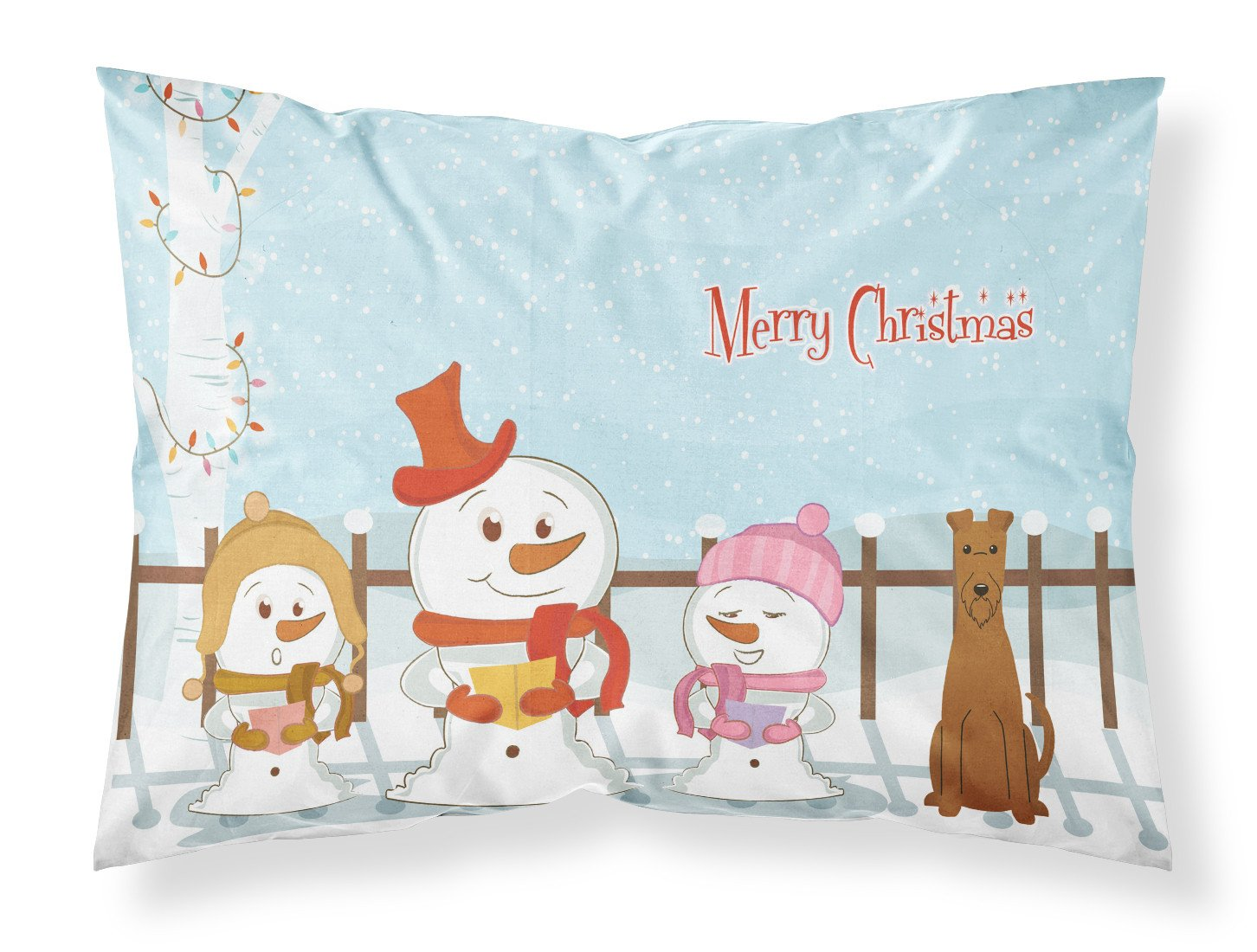 Merry Christmas Carolers Irish Terrier Fabric Standard Pillowcase BB2393PILLOWCASE by Caroline's Treasures