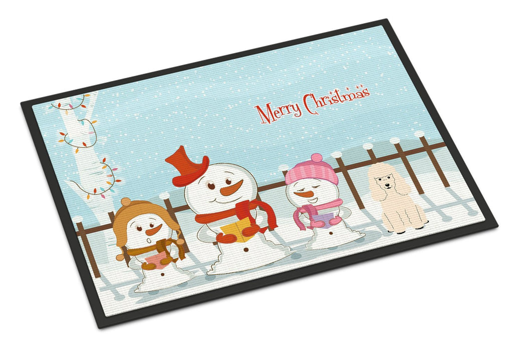 Buy this Merry Christmas Carolers Poodle White Indoor or Outdoor Mat 24x36 BB2401JMAT