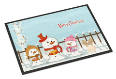 Buy this Merry Christmas Carolers Papillon Sable White Indoor or Outdoor Mat 24x36 BB2408JMAT