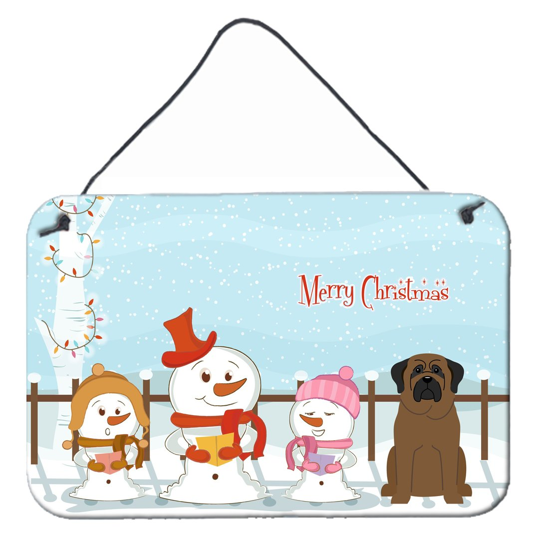 Buy this Merry Christmas Carolers Bullmastiff Wall or Door Hanging Prints BB2415DS812