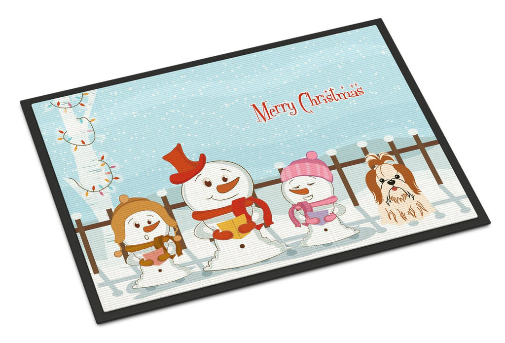 Buy this Merry Christmas Carolers Shih Tzu Red White Indoor or Outdoor Mat 18x27 BB2418MAT