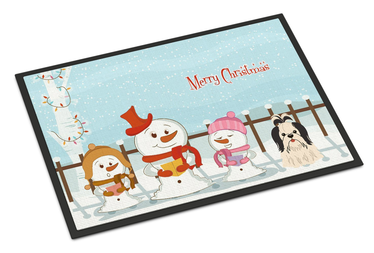 Merry Christmas Carolers Shih Tzu Black White Indoor or Outdoor Mat 24x36 BB2419JMAT - the-store.com
