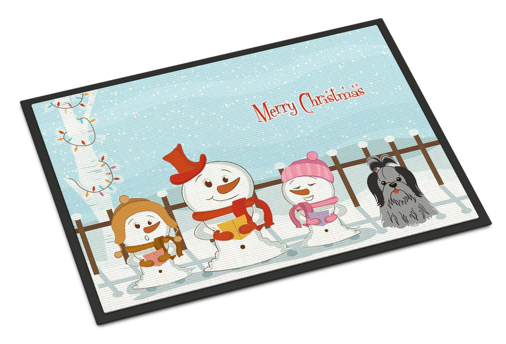 Buy this Merry Christmas Carolers Shih Tzu Black Silver Indoor or Outdoor Mat 18x27 BB2420MAT