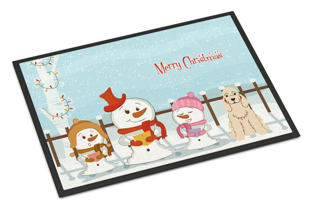 Buy this Merry Christmas Carolers Cocker Spaniel Buff Indoor or Outdoor Mat 24x36 BB2425JMAT