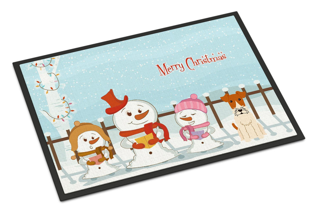 Buy this Merry Christmas Carolers Wire Fox Terrier Indoor or Outdoor Mat 18x27 BB2432MAT