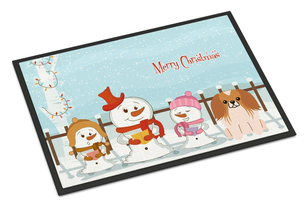 Buy this Merry Christmas Carolers Pekingnese Red White Indoor or Outdoor Mat 24x36 BB2434JMAT