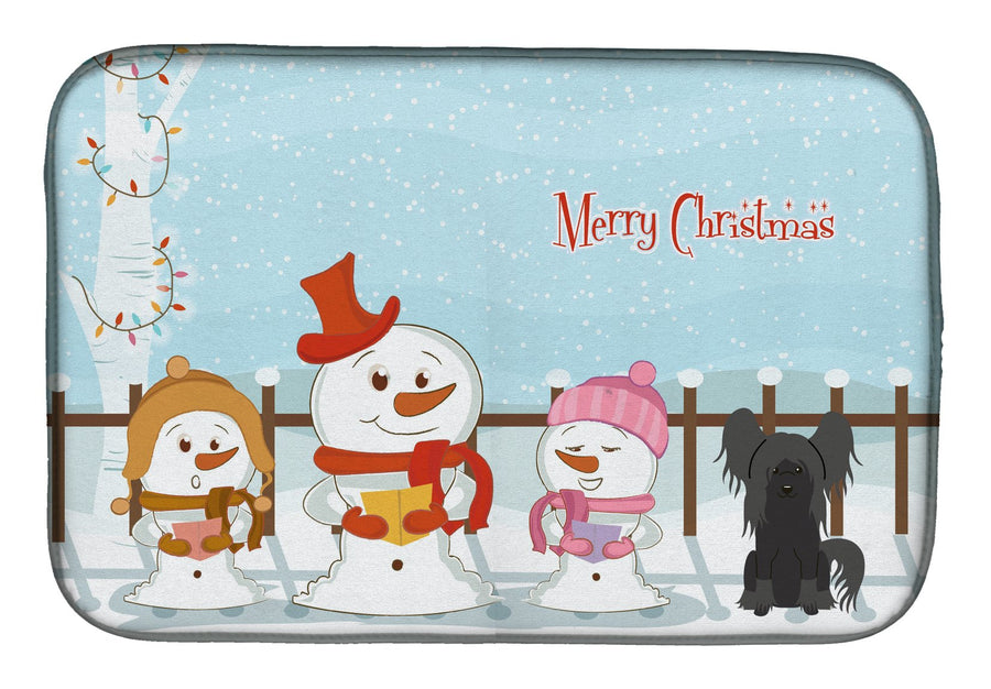 Buy this Merry Christmas Carolers Chinese Crested Black Dish Drying Mat BB2443DDM