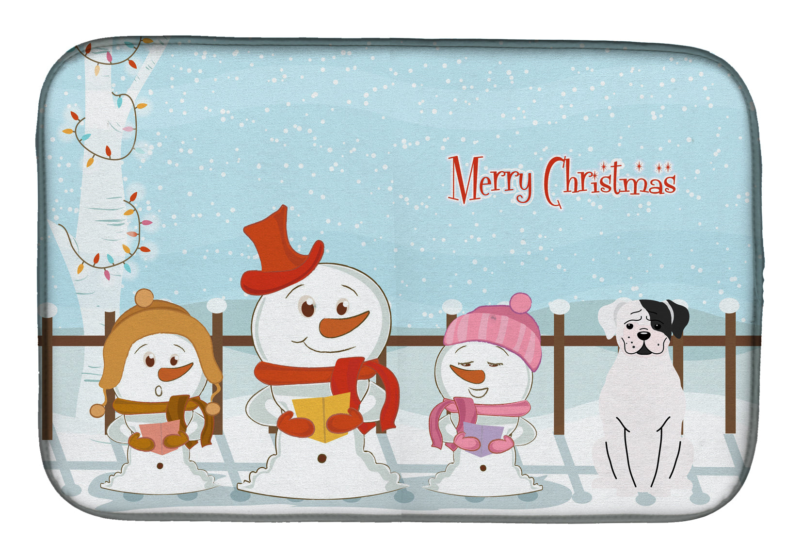 Merry Christmas Carolers White Boxer Cooper Dish Drying Mat BB2445DDM by Caroline's Treasures