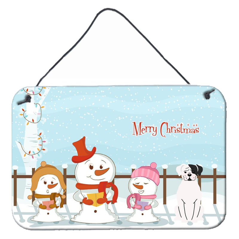 Buy this Merry Christmas Carolers White Boxer Cooper Wall or Door Hanging Prints BB2445DS812