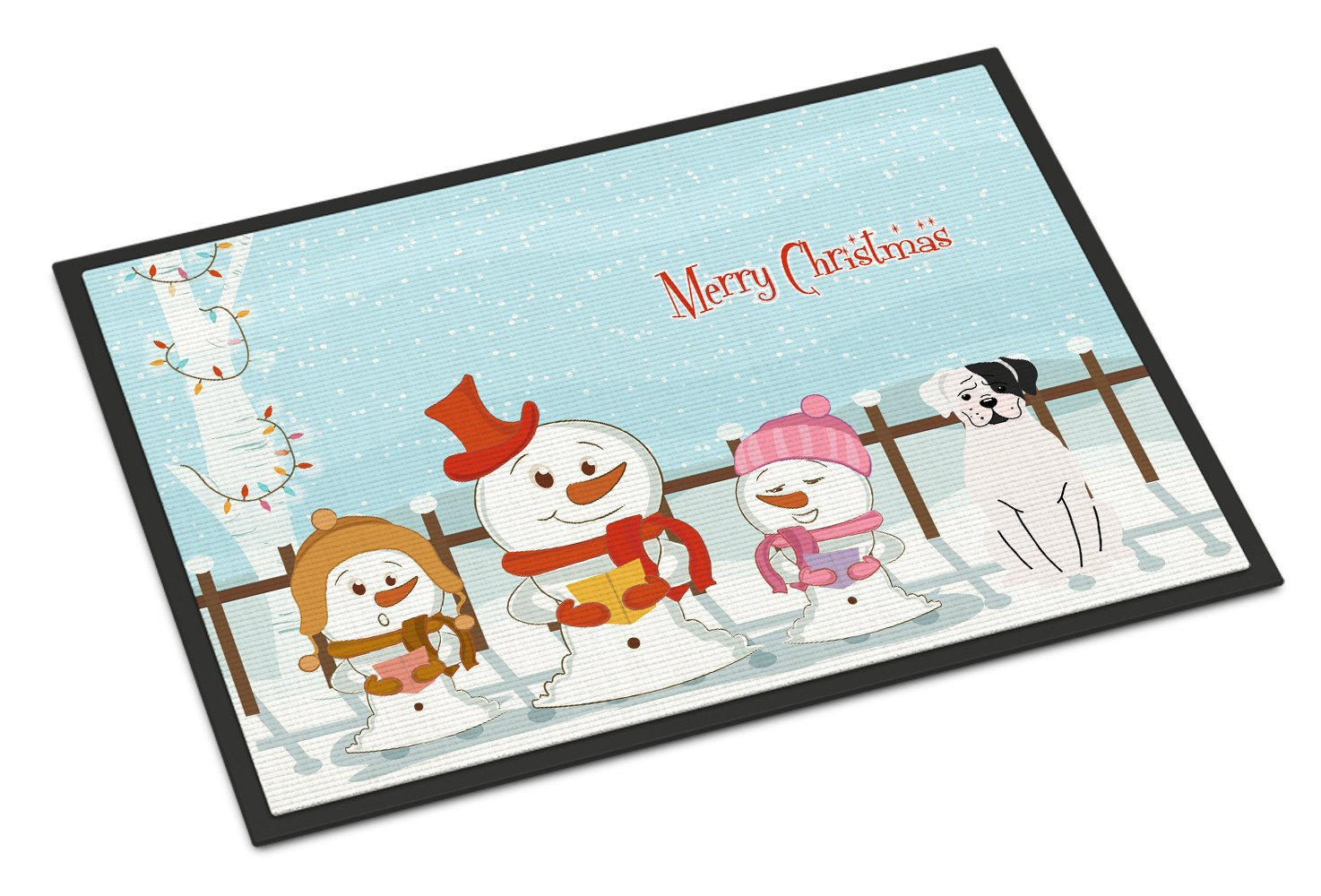 Merry Christmas Carolers White Boxer Cooper Indoor or Outdoor Mat 24x36 BB2445JMAT by Caroline's Treasures