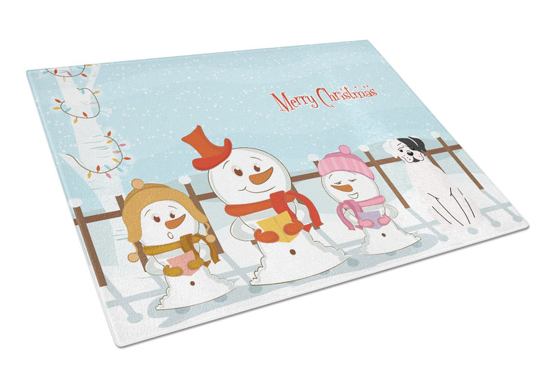 Buy this Merry Christmas Carolers White Boxer Cooper Glass Cutting Board Large BB2445LCB