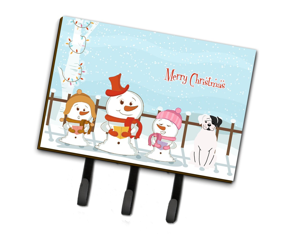 Buy this Merry Christmas Carolers White Boxer Cooper Leash or Key Holder BB2445TH68