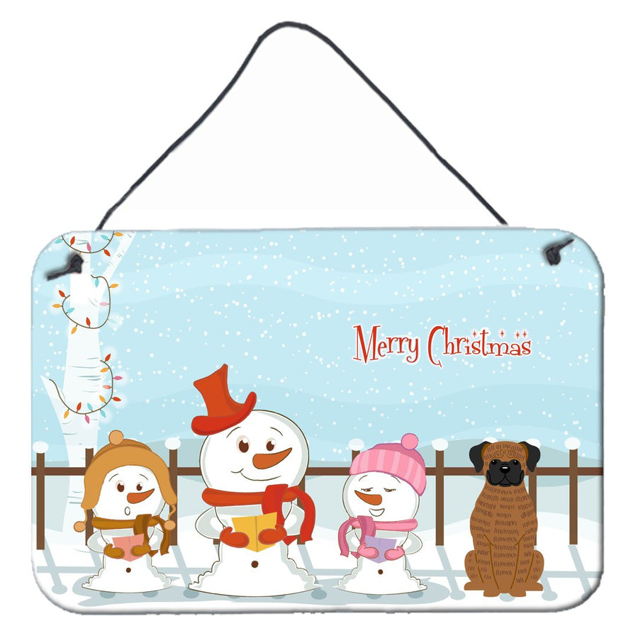 Buy this Merry Christmas Carolers Brindle Boxer Wall or Door Hanging Prints BB2448DS812